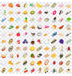 100 mains icons set isometric 3d style vector