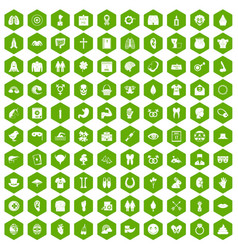 100 spring holidays icons hexagon green vector