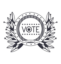 Vote seal stamp with wreath design vector