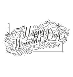 Happy womens day calligraphic text design element vector