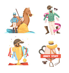 horse riding retro cartoon compositions vector image