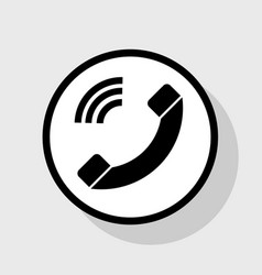 Phone sign   flat black icon vector