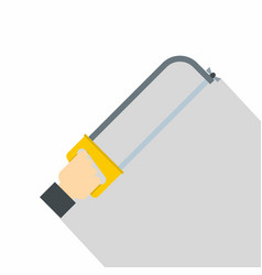 Hacksaw in man hand icon flat style vector