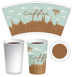Template paper cup with old town and inscription vector