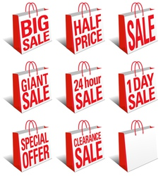 Sale shopping bags carrier bags icons symbols vector