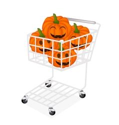 Jack-o-Lantern Pumpkins in A Shopping Cart vector image
