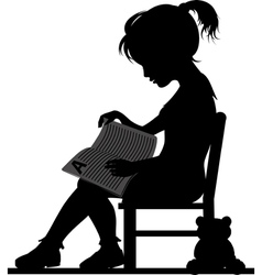 Reading little girl vector image