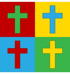 Pop art religious cross icons vector
