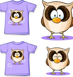 Cute owl printed on shirt vector