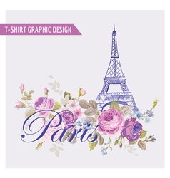 Floral paris graphic design - for t-shirt vector