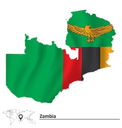 Map of zambia with flag vector