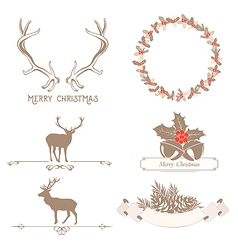 Christmas set with design elements vector