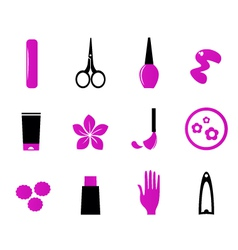 manicure cosmetics and beauty icons vector image
