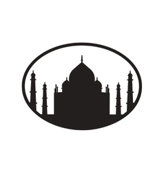 Stylish black and white icon indian taj mahal vector