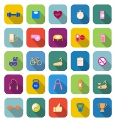 Fitness color icons with long shadow vector