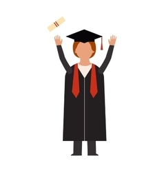 Happy graduation people uniform throwing caps vector