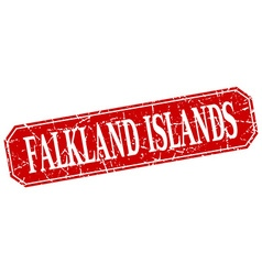Falkland islands red square grunge retro style vector