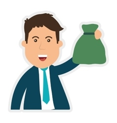 Businessman and money bag icon money and vector
