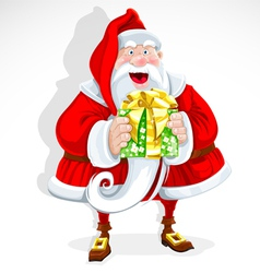 Cute santa claus give a gift vector
