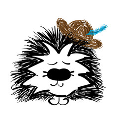 beautiful handdrawn hedgehog with hat vector image