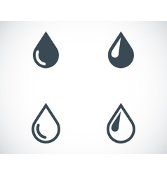 black drop icons set vector image vector image