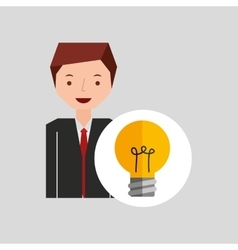 Business man cartoon and bulb idea vector