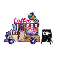 Coffee shop outdoor composition vector