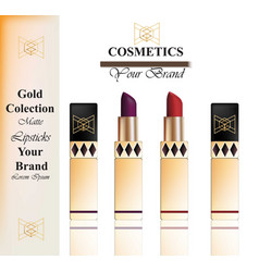 colorful realistick lipstick package in gold vector image