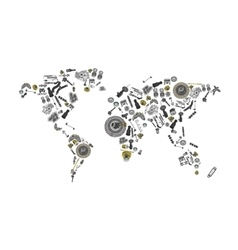 Draw a map of the world made up of spare parts vector image