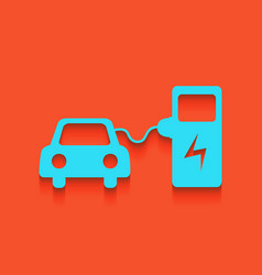 Electric car battery charging sign vector
