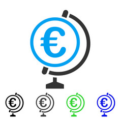 Euro globe flat icon vector