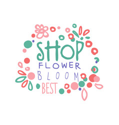 flower shop bloom best logo template hand drawn vector image