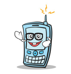Geek face phone character cartoon style vector