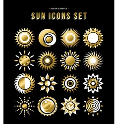 Gold set of sun design icons in modern style vector image