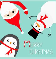 hanging upsidedown snowman penguin santa claus vector image vector image