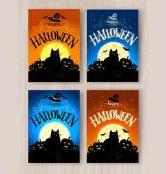 happy halloween postcards designs set vector image vector image