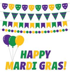 happy mardi gras greeting card vector image