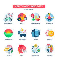 Health and longevity icons modern activity vector