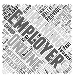 In support of employer sponsored online computer vector