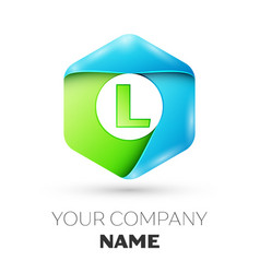 Letter l logo symbol in colorful hexagonal vector