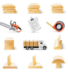 Lumber icon set vector