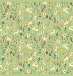 ostern gentle rabbit seamless pattern vector image