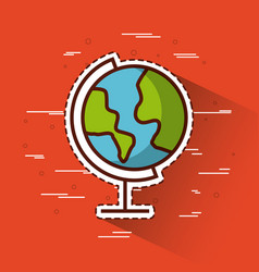 Planet earth over red background icon image vector