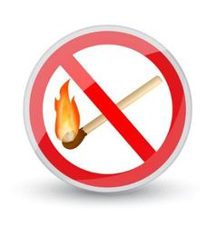 prohibited sign with a burning match vector image