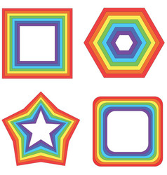 Rainbow square star and other - geometric vector