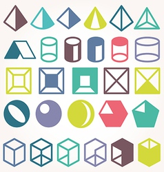 Set of icons geometric logo vector image