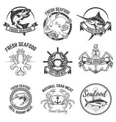 Set of the seafood labels isolated on white vector