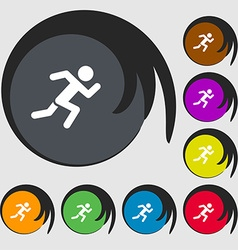 simple running human icon sign Symbols on eight vector image