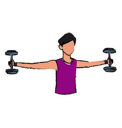 Sport man biceps training with dumbbell vector
