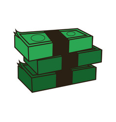 Stack of money abundance bank business vector